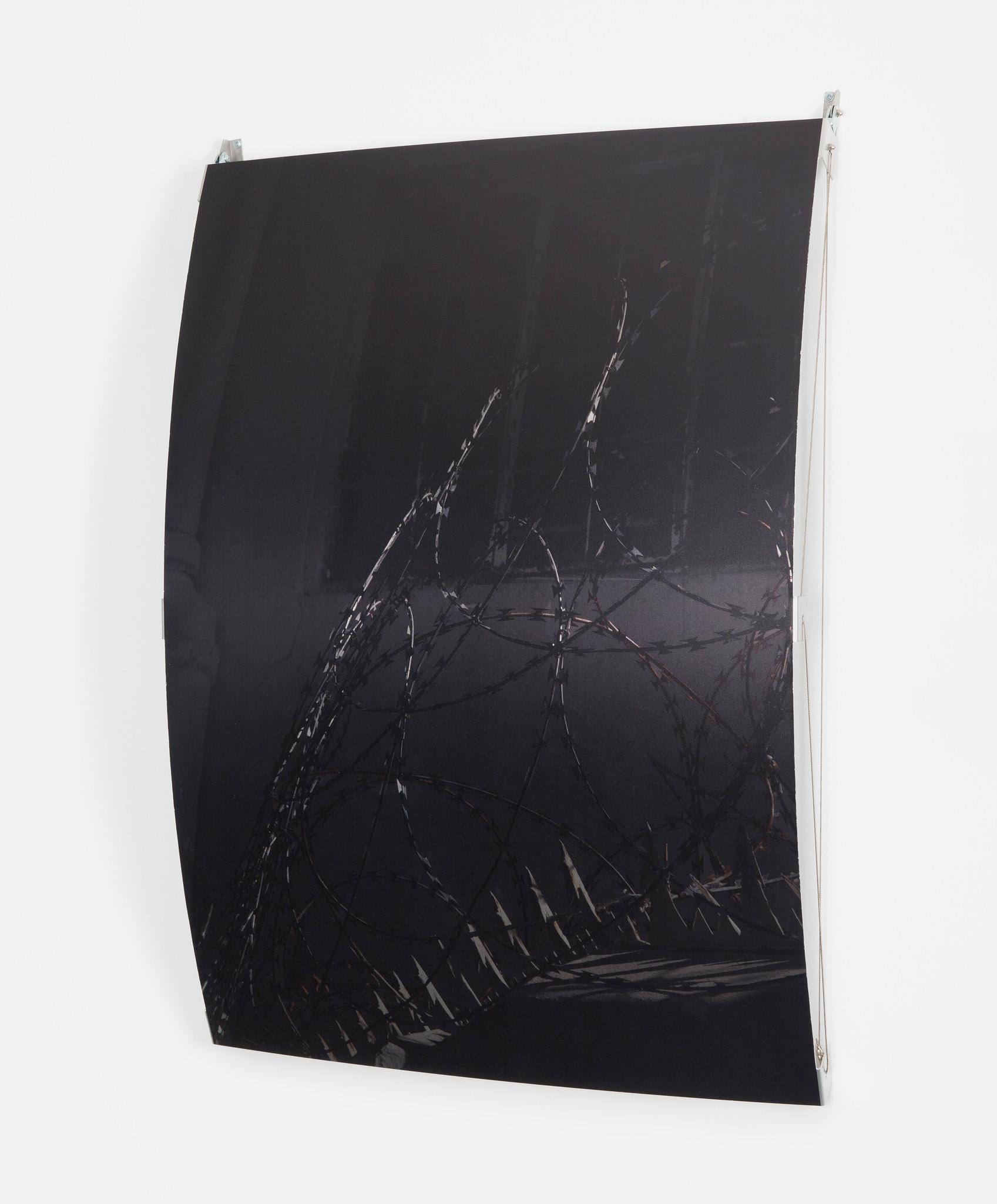 <p><i>FOLD</i> - Tensioner, 2020. UV Pigment Print on Mechanically Folded Aluminum Plate w 3mm Metal Rope, 1150mm x 800mm x 180mm.</p>