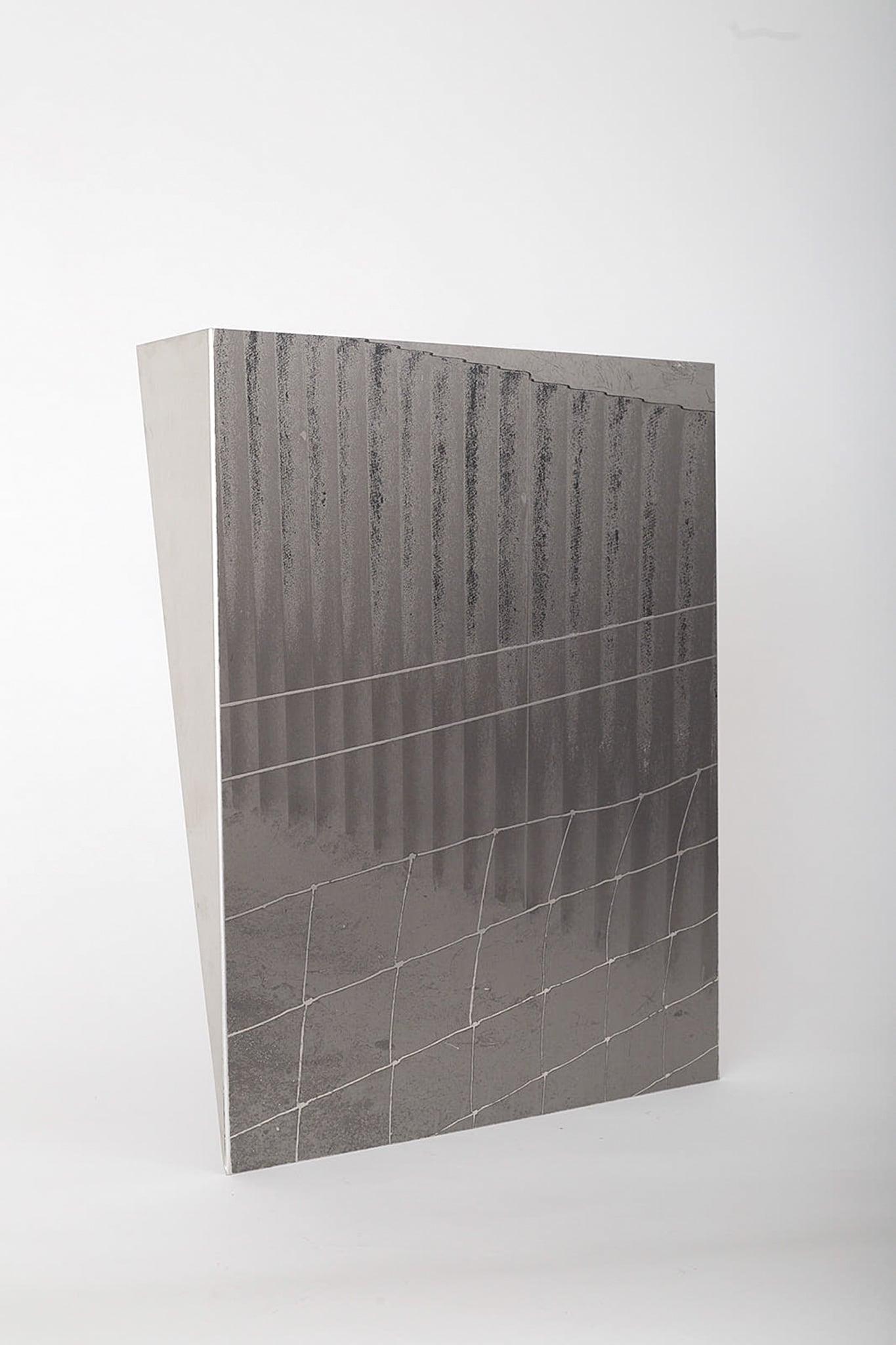 <p><i>FOLD</i> - Extrusion, 2020. UV Pigment Print on Mechanically Folded Aluminum Plate, 600mm x 400mm</p>