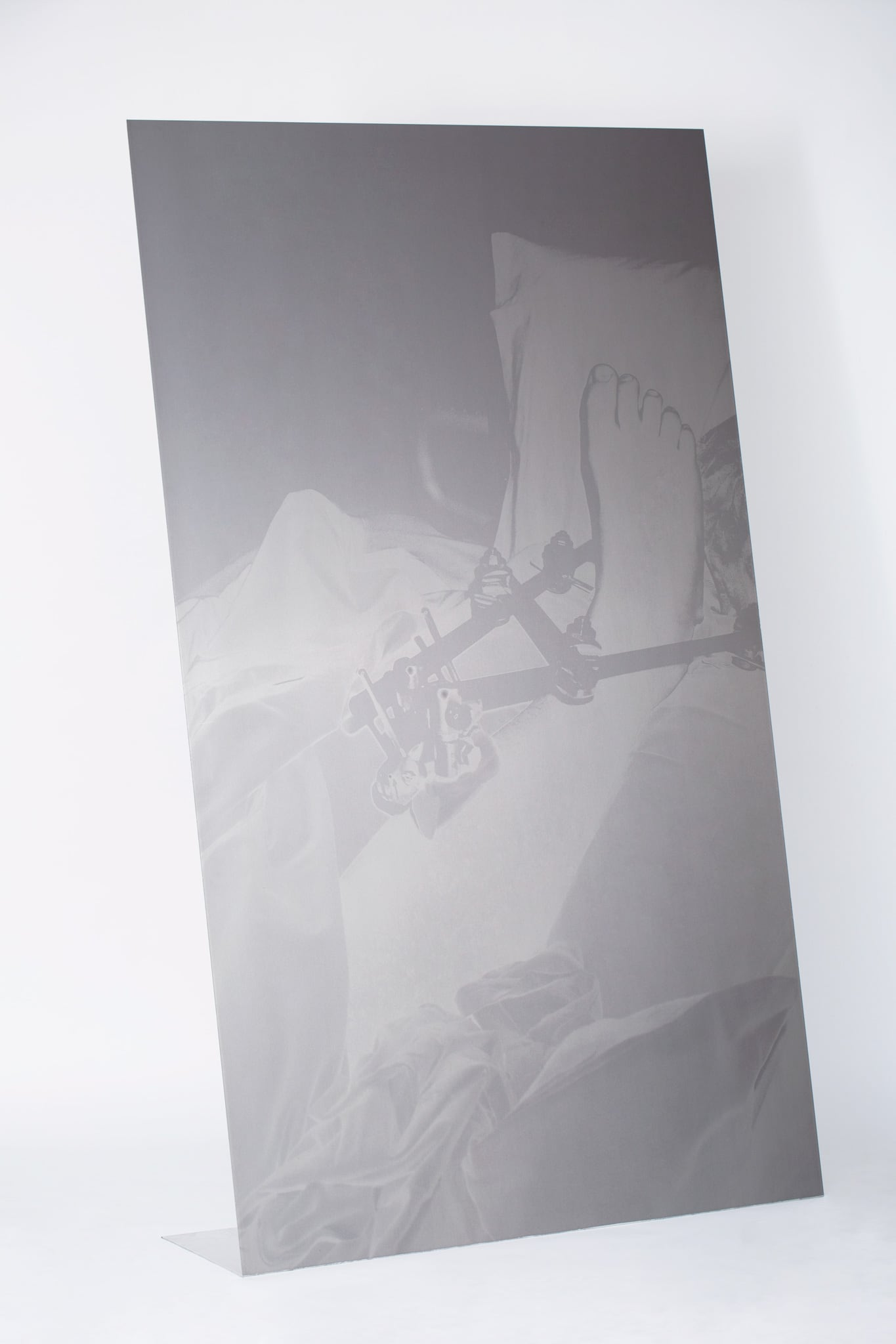 <p><i>FOLD</i> - Brace, 2020. UV Pigment Print on Mechanically Folded Aluminum Plate w Stainless Steel Welded Back Brace, 2050mm x 1200mm</p>